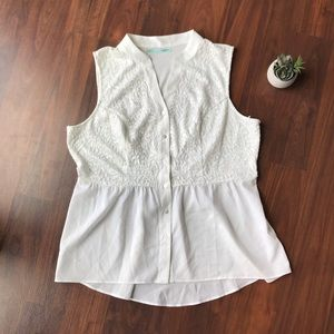 Maurice's White Lace Button Up Tank